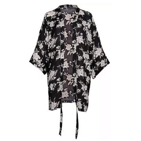 Spiritual Gangster Other - Spiritual Gangster Maya Kimono Black Floral Robe